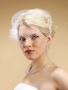 Mariell Bridals 726FV French Netting Birdcage Visor Bandeau Veil