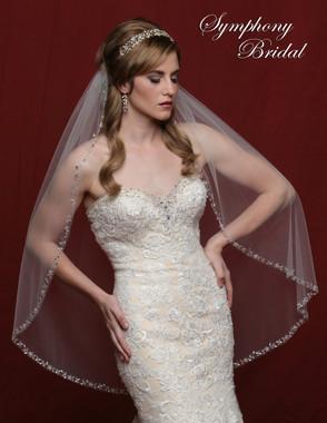 Symphony Bridal Wedding Veil - 6801VL - Heavy Beaded Edge Marquis Stones