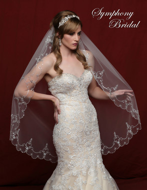 Symphony Bridal Wedding Veil - 6802VL - Scalloped Edge Heavy Beaded Edge Marquis Stones