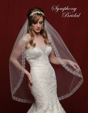 Symphony Bridal Wedding Veil - 6802VL - Double Row Flower Scalloped Silver Embroidery Beaded Edge