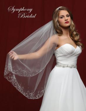 Symphony Bridal Wedding Veil - 6812VL - Embellished Veil
