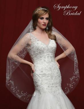 Symphony Bridal Wedding Veil - 6826VL - Embellished Veil