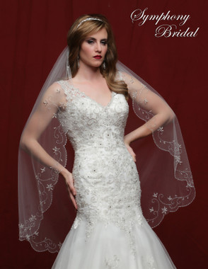 Symphony Bridal Wedding Veil - 6827VL - Embellished Veil