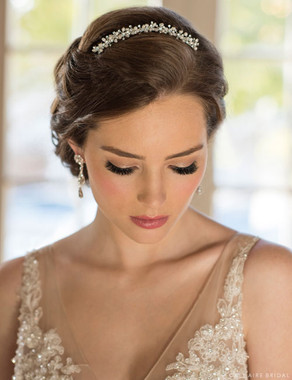 Bel Aire Bridal 6679 - Metal comb lined with small pearls and rhinestones