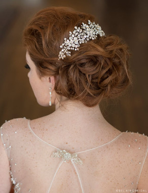 Bel Aire Bridal 6673 - Dramatic comb of wired, sparkling rhinestone sprays