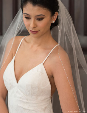 Bel Aire Bridal Veils V7364 - 1-tier fingertip veil with delicate silver edge