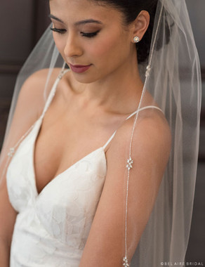 Bel Aire Bridal Veils V7374 - 1-tier fingertip veil with delicate silver beaded edge