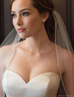 Bel Aire Bridal Veils V7373 - 1-tier fingertip veil with sparkling edge