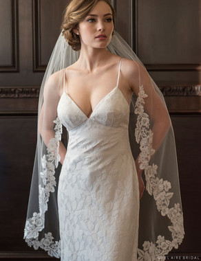 Bel Aire Bridal Veils V7369 -1-tier knee length veil with floral lace