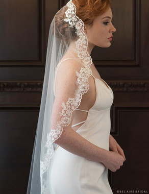 Bel Aire Bridal Veils V7370- 1-tier waltz length mantilla with unbeaded lace