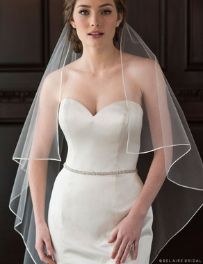 Bel Aire Bridal Veils V7371 - 1-tier waltz length ribbon edge veil