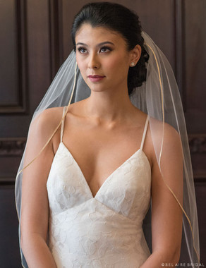 "Bel Aire Bridal Veils V7372 - 1-tier elbow veil with 1/8"" metallic ribbon edge"