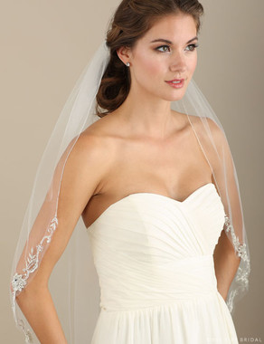 Bel Aire Bridal Veils V7334 -1-tier fingertip veil with beaded embroidery