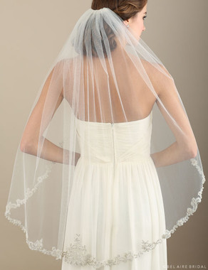 Bel Aire Bridal Veils V7331 - 1-tier fingertip veil with heavily beaded embroidery