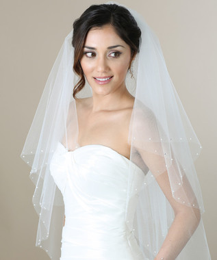 Bel Aire Bridal Veils V7271 - 2-tier fingertip veil with pearls and rhinestones