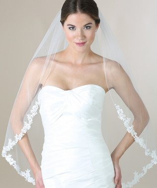 Bel Aire Bridal Veils V7273 - 1-tier fingertip veil with beaded Venise lace