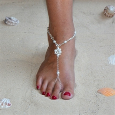 Barefoot Bridal Sandal Foot Jewelry with Pearl and Crystal Anklet 4462FT-W-CR-S