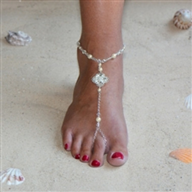 Filigree Barefoot Bridal Sandal Foot Jewelry with Ivory Glass Pearls and Crystals 4473FT-LTI