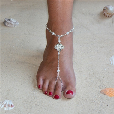 Filigree Barefoot Bridal Sandal Foot Jewelry with White Glass Pearls and Crystals 4473FT-W