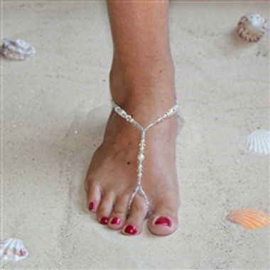 Crystal and Glass Pearl Foot Jewelry Barefoot Sandal with Beaded Anklet 4474FT-LTI