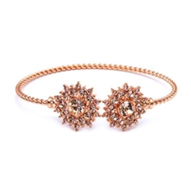 Rose Gold Crystal Sunburst Cuff Bracelet-4297B-RG