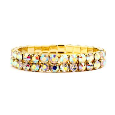 Bold Size Rhinestone Stretch Bracelet in AB & Gold-4157B-AB-G