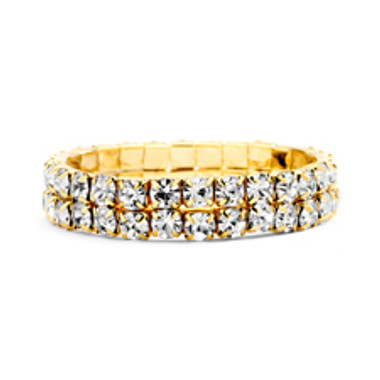 Bold Size Rhinestone Stretch Bracelet in Clear & Gold-4157B-CR-G