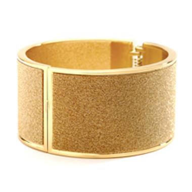 Deep Gold Sparkles Hinged Cuff Bracelet-4203B-G