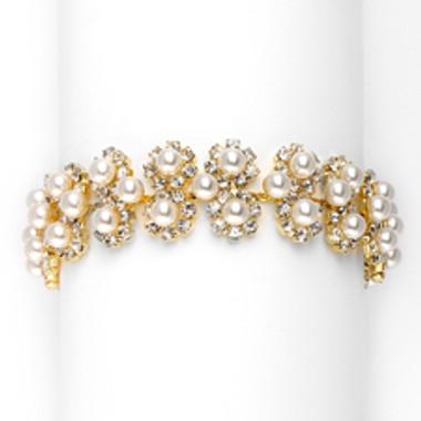 Ivory Pearl & Gold Rhinestone Bridal Bracelet with Daisies-3805B-I-G
