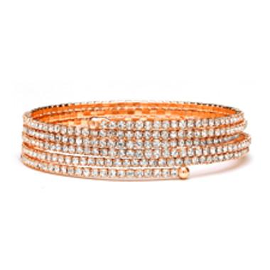 Rose Gold 5-Row Delicate Rhinestone Coil Bracelet-4132B-RG
