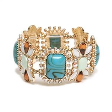 Gorgeous Crystal, Turquoise, Tortoise & Pastel Stretch Bracelet-4121B-TQMU