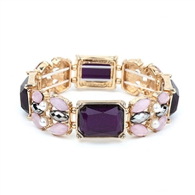 Purple Mixed Stone Stretch Bracelet for Prom or Bridesmaids-4331B-AM-G