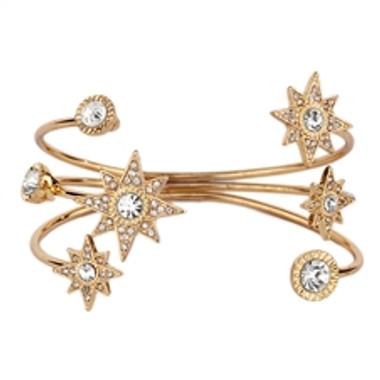 Celestial Stars Bridal or Prom Crystal Cuff Bracelet in Gold-4346B-G
