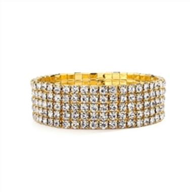 5-Row Stretch Gold Rhinestone Bracelet-1009B-G