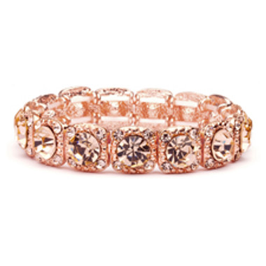 Rose-Gold Coral Color Bridal or Prom Stretch Bracelet with Crystals-532B-RG
