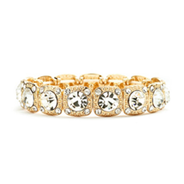 Gold Bridal or Prom Stretch Bracelet with Crystals-532B-CR-G