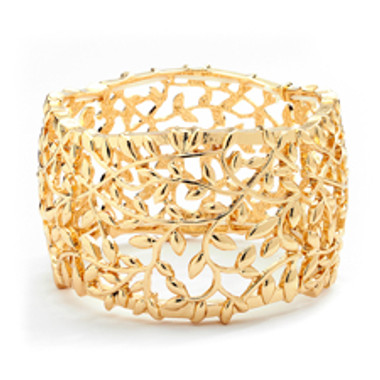Open Vine Gold Stretch Bracelet for Prom, Homecoming or Wedding-4115B-G