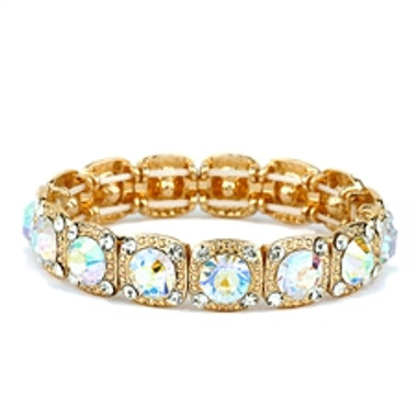 Best-Selling Gold Bridal or Prom Stretch Bracelet with AB Solitaires-532B-AB-G