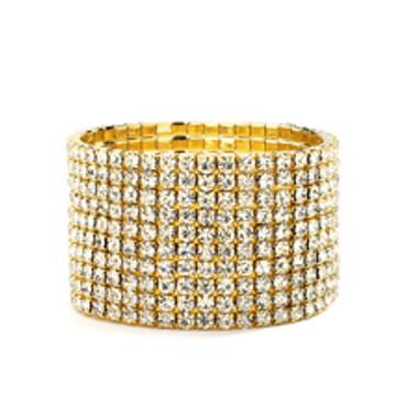 10-Row Clear Gold Rhinestone Wedding or Prom Stretch Bracelet-4124B-G