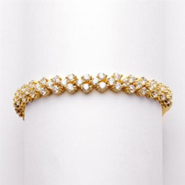 Elegant Gold Cubic Zirconia Wedding or Prom Tennis Bracelet-4109B-G-7