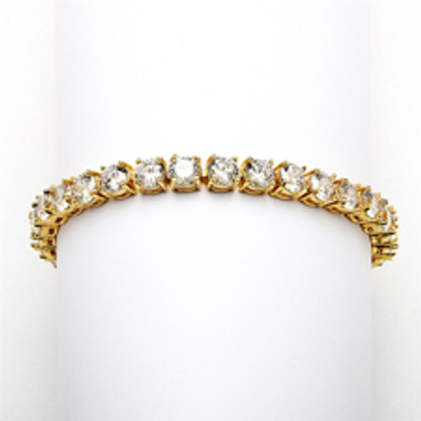 Glamorous 14K Gold Plated Bridal or Prom Tennis Bracelet in Petite Size-4127B-G-6