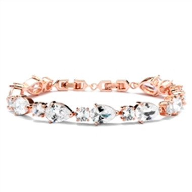 Top Selling CZ Pears and Rounds Bridal or Bridesmaids Rose Gold Bracelet-4374B-RG