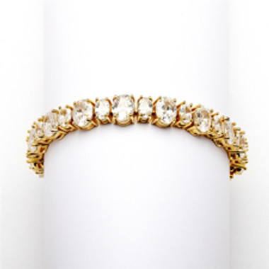 Spectacular Multi Ovals Gold Cubic Zirconia Wedding or Pageant Bracelet-4125B-G-6