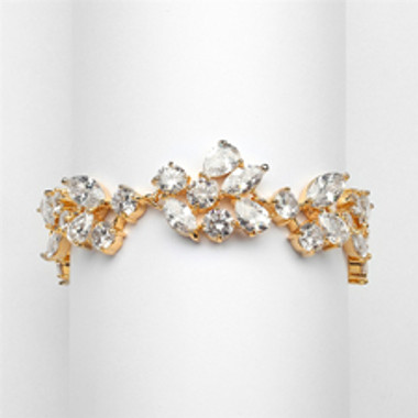 Top Selling Mosaic Shaped CZ Wedding Bracelet in 14K Gold Plating - Petite Size-4129B-G-6