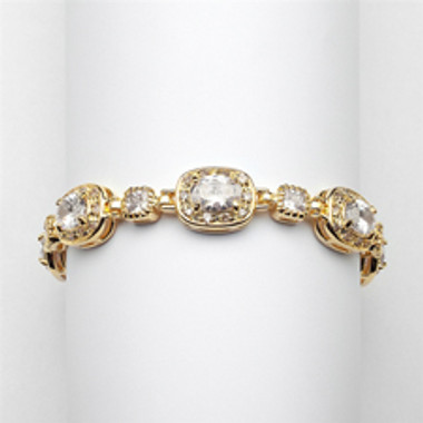"Exclusive 6 1/2"" Designer CZ Bridal or Special Occasion Bracelet with 14K Gold Plating-4130B-G-6"
