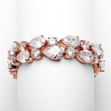 Red Carpet Bold CZ Pears Bridal Statement Bracelet in Rose Gold-4128B-RG-6