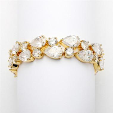 Red Carpet Bold CZ Pears Bridal Statement Bracelet in 14K Gold Plating-4128B-G-6