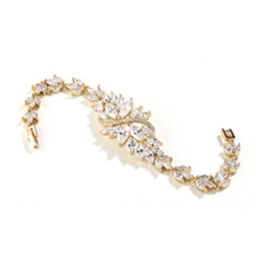 Cubic Zirconia Cluster Gold Bridal Bracelet with Dainty Marquis Stones-4014B-G-7