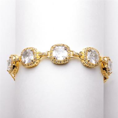 """Plus Size 8"""" Magnificent Cushion Cut CZ Gold Bridal Bracelet-4069B-G-8"""