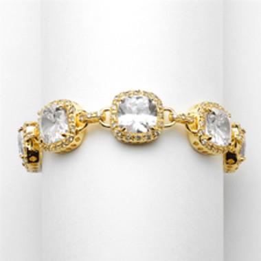 """Magnificent Gold 6 1/2"""" Popular Petite Length Cushion-Cut CZ Bracelet-4069B-G-6"""